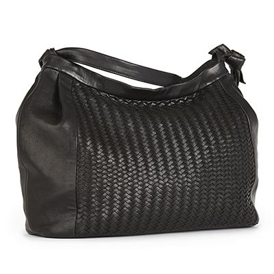 Große Tasche aus schwarzem Lammleder mit von Hand gearbeiteter Flechtung